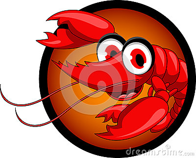 Funny red shrimp cartoon