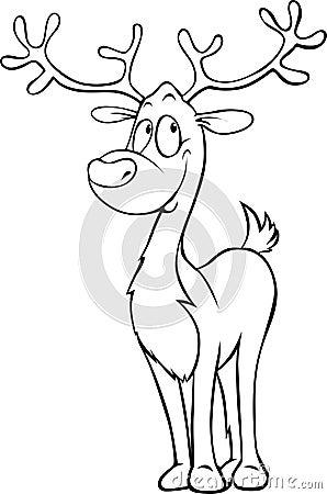Funny Reindeer Black Outline Illustration Stock Vector