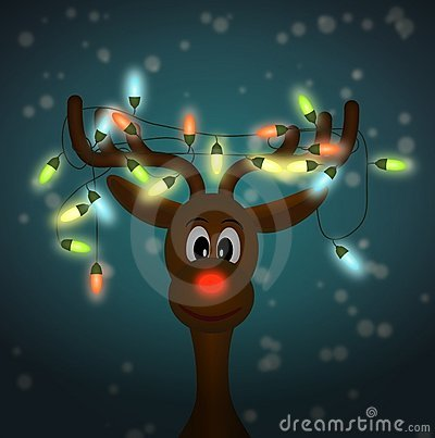 Funny reindeer with christmas lights in dark