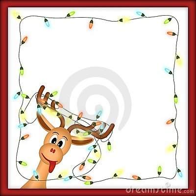 Funny reindeer with christmas lights in red frame