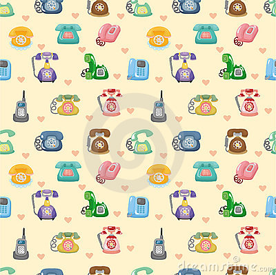 Funny retro cartoon phone seamless pattern
