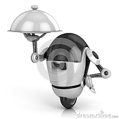Free Funny Robot - Waiter 3d Illustration Royalty Free Stock Photos - 19350308
