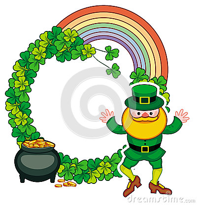Free Funny Round Frame With Shamrock And Leprechaun. Raster Clip Art. Royalty Free Stock Image - 86421346