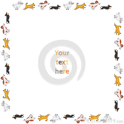 Funny running dogs square vector frame