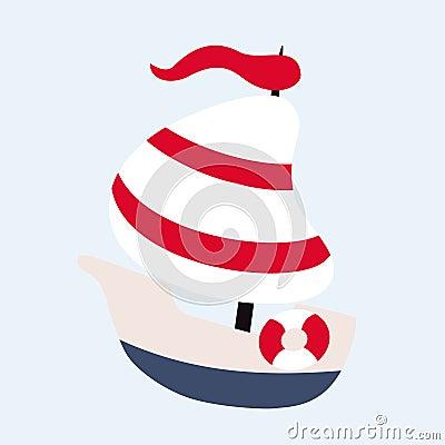 Funny sailing ship Vector Illustration