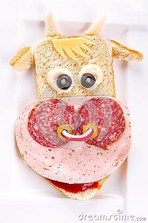 Funny sandwich in the cow shape
