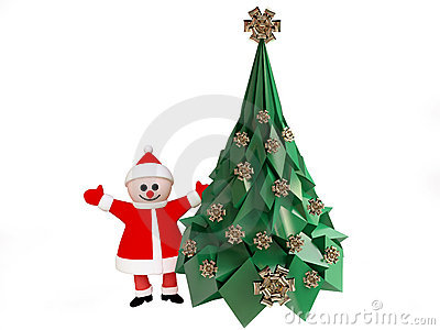 Funny Santa Claus near Decorated Christmas Tree