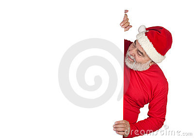Funny Santa Claus with poster