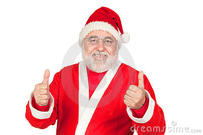 Funny Santa Claus saying OK with his thumbs