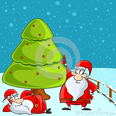 Funny Santa relaxing under Christmas Tree
