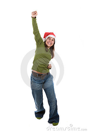 Funny santa woman celebrating christmas holiday