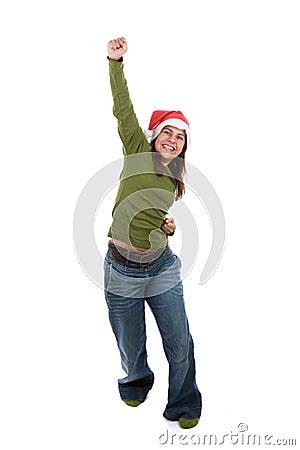 Funny santa woman celebrating christmas holiday