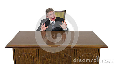 Funny Scared, Frightened, Fear Businessman Isolated