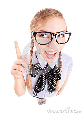 Free Funny School Girl Pointing Up Stock Images - 27516824