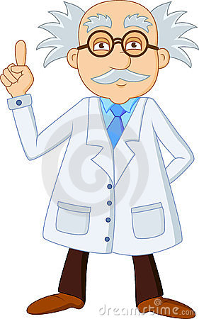 Funny scientist cartoon character