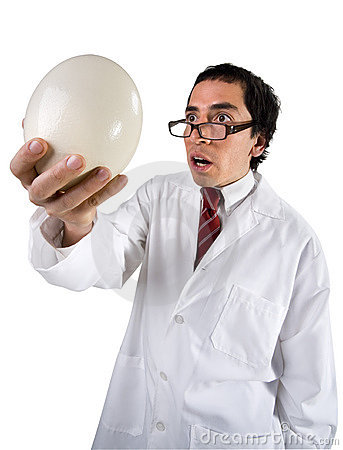 Funny scientist and egg