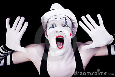 Funny screaming mime