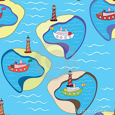 Funny sea seamless pattern with ships