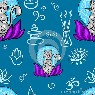 Funny seamless pattern with cartoon cat doing yoga position. Cat meditation in lotus. Healthy lifestyle concept Stock Photo