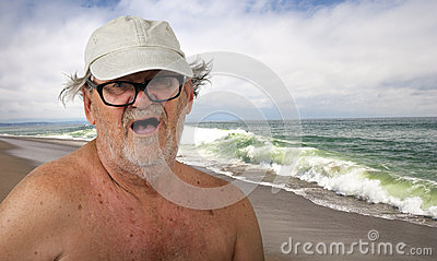 Funny Senior Citizen on the Beach