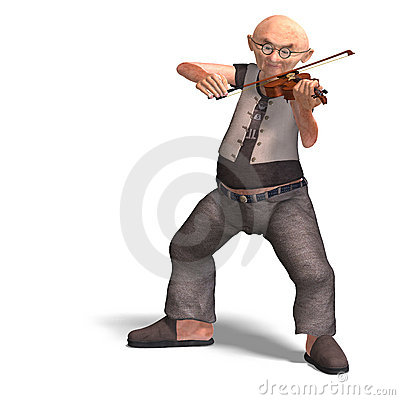 Funny senior plays the violin