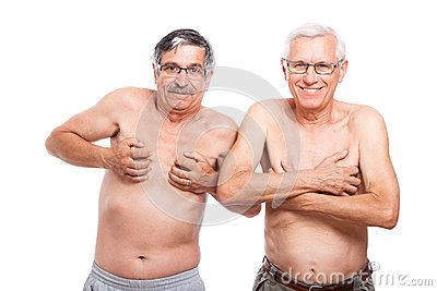 Funny seniors showing body