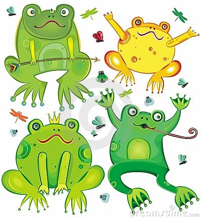 Funny  set of cute frogs