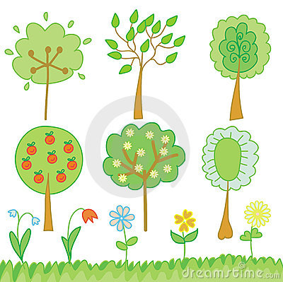 Funny set of trees and flowers