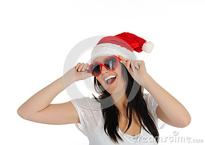 Funny sexy santa clouse woman in casual clothes