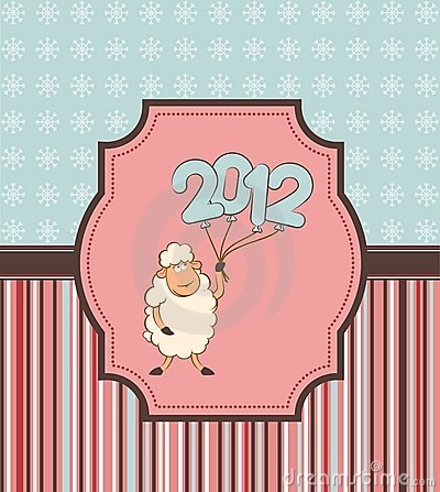 Funny sheep and numbers 2012 year.
