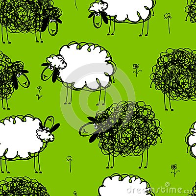 Funny sheeps on meadow, seamless pattern for your