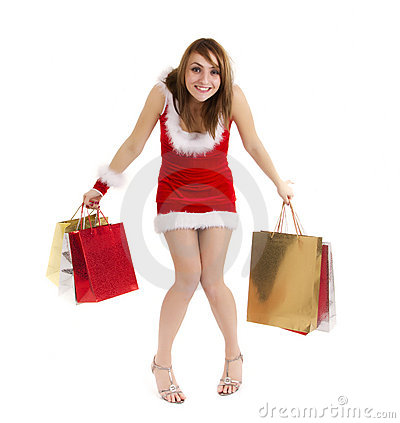 Funny shopper woman