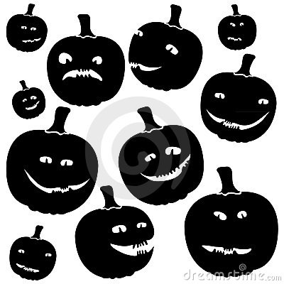 Funny silhouettes of halloween pumpkins