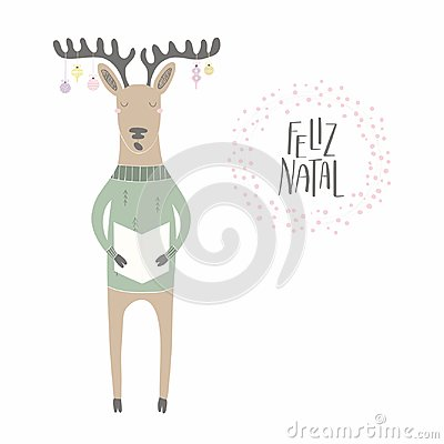 Funny singing reindeer Christmas card Vector Illustration