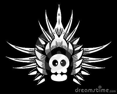 Funny skull with wings