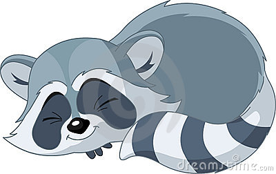 Funny sleeping cartoon raccoon
