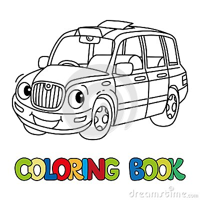 Free Funny Small Taxi Car Or London Cab. Coloring Book Royalty Free Stock Photo - 123858115