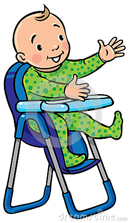 Funny smiling baby in the highchair stock vector image for Chaise 3d dessin