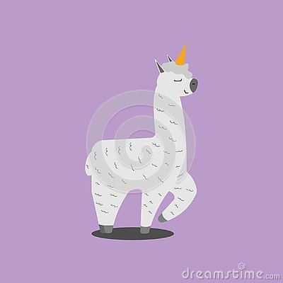 Funny smiling pink unicorn llama, alpaca. Cartoon character vector illustration. Vector Illustration