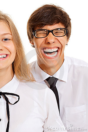 Funny smiling teen couple