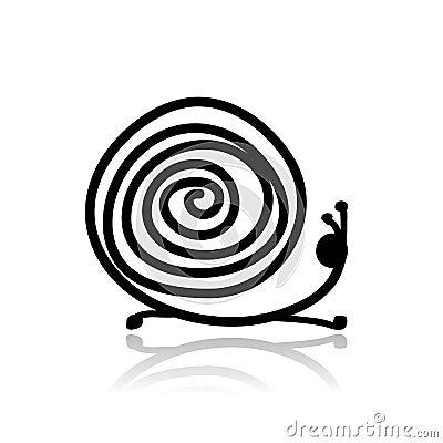 Funny snail sketch