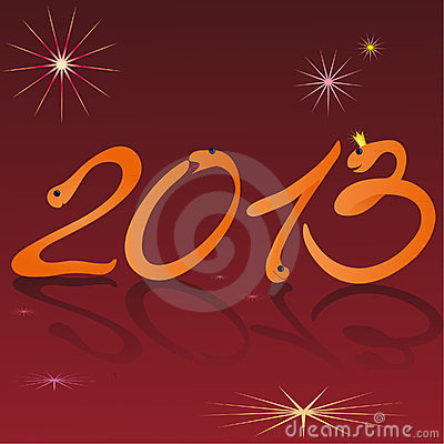 Funny snakes and symbols of 2013 New Year brown ba