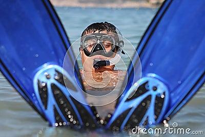 Funny snorkel man