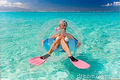 Funny snorkel woman