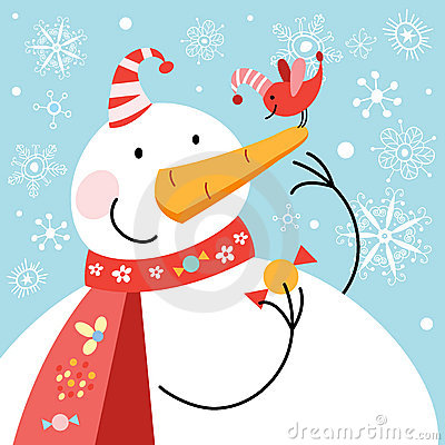 Funny snowman with bird