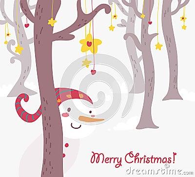 Funny snowman christmas greetings card