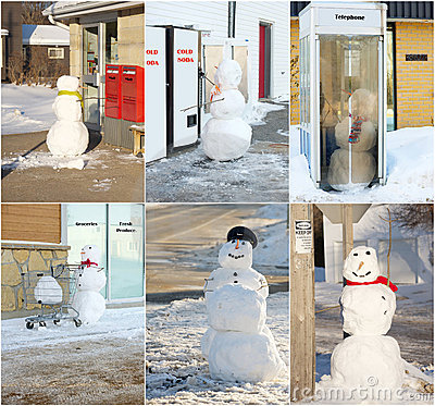 Free Funny Snowman Collage. Royalty Free Stock Photo - 19566655