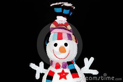 Funny snowman made of wool