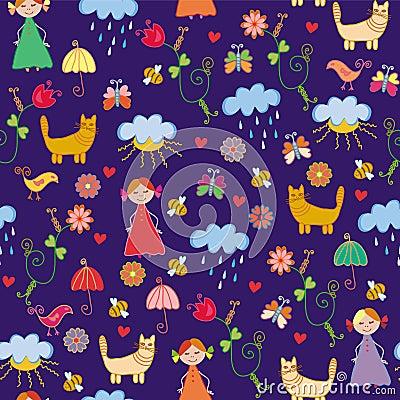 Funny spring chidish seamless pattern