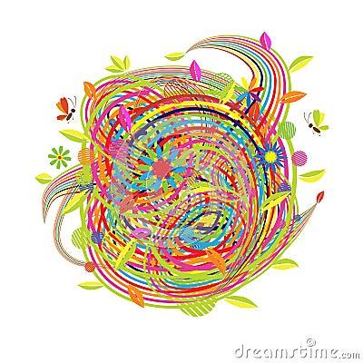 Funny spring illustration for your design